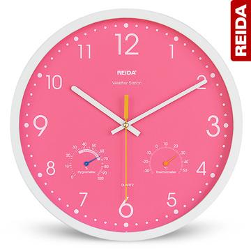瑞达钟表英寸现代简约时钟温度湿度静音大号客厅创意石英挂钟