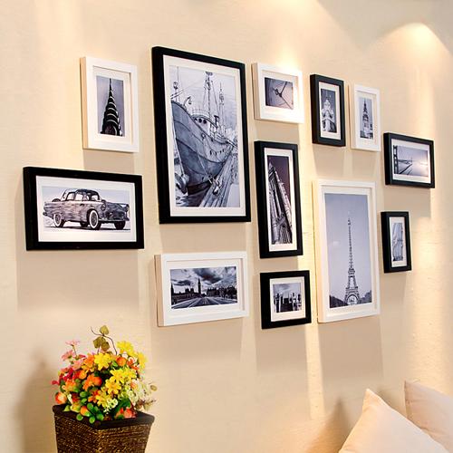 大客厅实木照片墙欧式相框墙相片墙挂墙画框创意组合