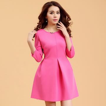 韩版春装新款修身打底连衣裙圆领中腰纯色套头公主裙女装